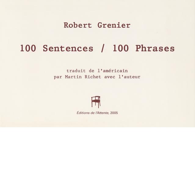 Couverture d'ouvrage: 100 Sentences / 100 Phrases